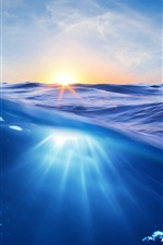 Preview iPhone wallpaper Ocean, sunset, sun, blue water, bubbles
