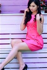 Preview iPhone wallpaper Pink dress girl, asian, violin, music, bench