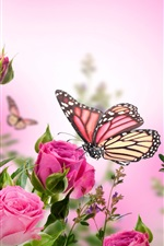 Preview iPhone wallpaper Pink roses, flowers, butterflies