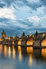 Preview iPhone wallpaper Prague, Charles Bridge, Czech Republic, river Vltava, evening, lights