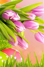 Preview iPhone wallpaper Purple tulips, Easter, spring, basket, eggs, grass