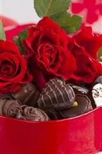 미리보기 iPhone 배경 화면 장미 꽃 꽃다발, 사탕, 초콜릿