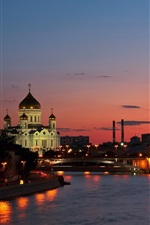 Preview iPhone wallpaper Russia, city, Moscow, river, sunset