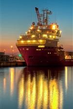 Preview iPhone wallpaper Ship, dock, pier, lights, evening