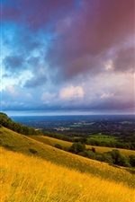 Preview iPhone wallpaper South Downs, England, morning, dawn, clouds, fields, hills, trees