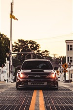 Subaru Impreza STI car, bridge, dusk