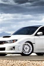 Subaru Impreza STI white car