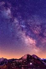 Preview iPhone wallpaper Switzerland, the Alps, beautiful night, sky, stars