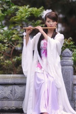 Preview iPhone wallpaper The white dress girl playing the flute