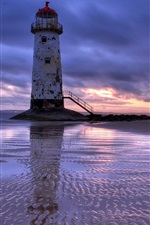 Preview iPhone wallpaper United Kingdom, Wales, lighthouse, sea, beach, evening, sunset, clouds