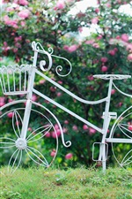Preview iPhone wallpaper White bicycle, wheel, basket, flowers, grass