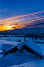 Preview iPhone wallpaper Winter, snow, mountains, morning, blue, sunrise, house