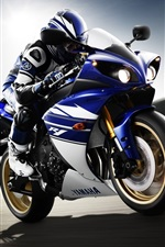 Preview iPhone wallpaper Yamaha YZF-R1 motorcycle, rider, sport bike, speed
