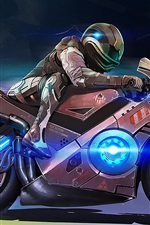 Preview iPhone wallpaper Art design, motorcycle, people, speed