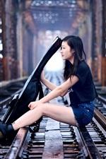 Preview iPhone wallpaper Asian girl, guitar, music, railroad, bridge