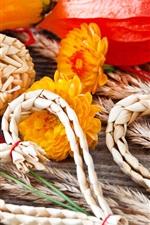 Preview iPhone wallpaper Autumn, heart, straw, vegetables, pumpkins, flowers