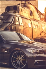 Preview iPhone wallpaper BMW E90 car, helicopter, sunset