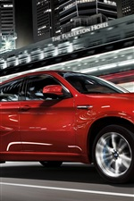 BMW X6 red SUV, night, speed, city