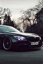 Preview iPhone wallpaper BMW black car at dusk