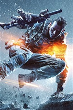 Preview iPhone wallpaper Battlefield 4, rain, soldier, gun