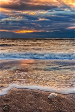 Preview iPhone wallpaper Beach, sunset, sky, clouds, sand, nature, sea, ocean, waves
