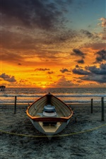 Preview iPhone wallpaper Beach, wood bridge, boat, sunset, pier, sea, clouds