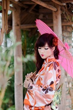 Preview iPhone wallpaper Beautiful Japanese girl, kimono, paper umbrellas