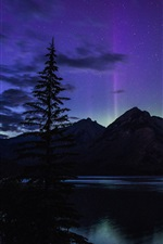 Beautiful night, Banff National Park, Alberta, Canada, lake, northern lights
