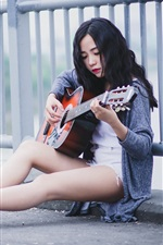 Preview iPhone wallpaper Black hair girl, guitar, music, roadside
