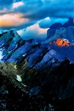 Preview iPhone wallpaper Blue sky clouds, sunset, mountains, nature