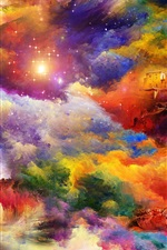 Preview iPhone wallpaper Bright colors, house, rock, art painting