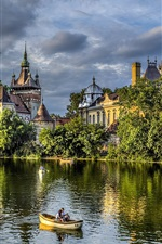 Preview iPhone wallpaper Budapest, castle, trees, nature, park, lake, boat, people