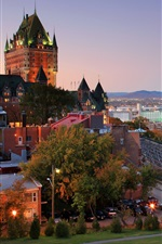 Preview iPhone wallpaper Canada, Quebec, harbor, city, house, dusk