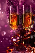 Preview iPhone wallpaper Celebrate, Christmas, champagne, decorations, purple style