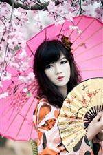 Preview iPhone wallpaper Cherry blossoms, kimono girl, umbrella, fan