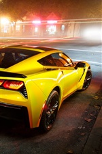 Preview iPhone wallpaper Chevrolet Corvette Stingray Coupe C7 supercar in night city
