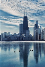 Preview iPhone wallpaper Chicago, Illinois, city landscape, river, skyscrapers, dusk, winter, ice