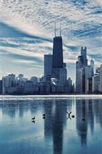Chicago, Illinois, city landscape, river, skyscrapers, dusk, winter, ice