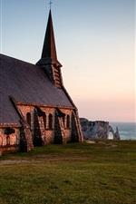 Preview iPhone wallpaper Church, Normandy, France, evening, sea, horizon