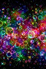 Preview iPhone wallpaper Colorful bubbles, beautiful, rainbow, abstract