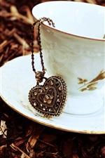 Preview iPhone wallpaper Cup, saucer, heart pendant, chain, pendant, autumn