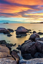 Preview iPhone wallpaper Dawn, sky, morning, sea, stones, sunrise