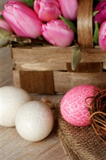 Preview iPhone wallpaper Easter, nest, eggs, pink, white, tulip flowers, basket