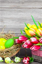 Preview iPhone wallpaper Easter, spring, flowers, eggs, colorful, red and yellow tulips