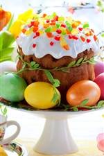Preview iPhone wallpaper Easter, spring, flowers, eggs, colorful, tulips, cake