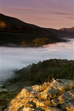 Preview iPhone wallpaper England, United Kingdom, Wales, town, morning, fog, mountains