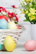 Preview iPhone wallpaper Flowers, eggs, holiday, Easter, basket
