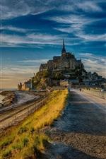 Preview iPhone wallpaper France, Mont Saint-Michel, road, dusk