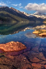 Preview iPhone wallpaper Garibaldi, Canada, nature landscape, mountains, rocks, forest, trees, lake
