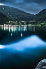 Preview iPhone wallpaper Geiranger, Norway, lake, boat, mountain, house, dusk